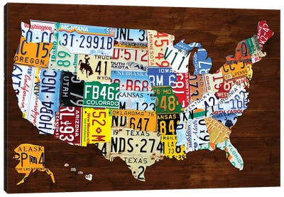 United States of America License Plate Map 2018 Canvas Art Print