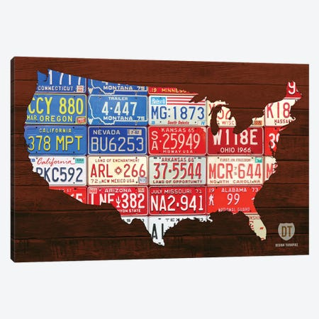USA Flag Map Canvas Print #DTU229} by Design Turnpike Canvas Wall Art