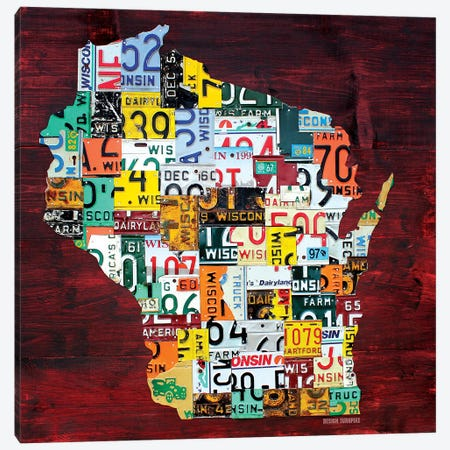 Wisconsin Counties License Plate Map Canvas Print #DTU235} by Design Turnpike Canvas Art