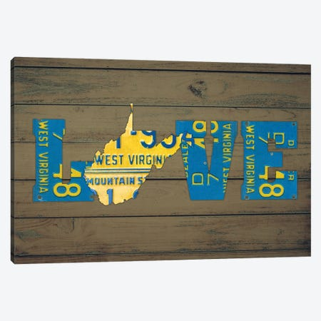 WV State Love Canvas Print #DTU237} by Design Turnpike Canvas Artwork
