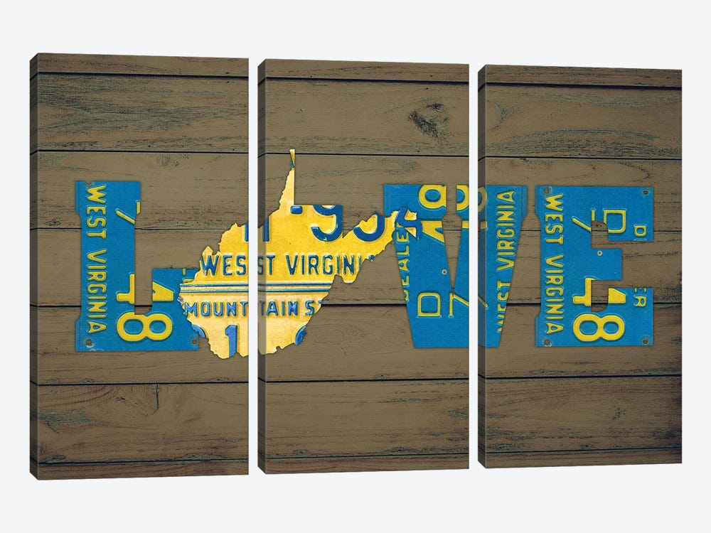 WV State Love by Design Turnpike 3-piece Canvas Art