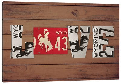 WY State Love Canvas Art Print