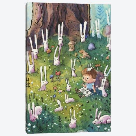 Bunnies And Boy Canvas Print #DTV11} by Dan Tavis Canvas Art
