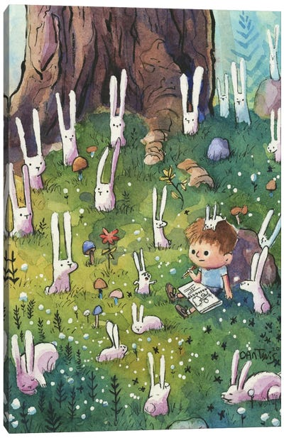 Bunnies And Boy Canvas Art Print
