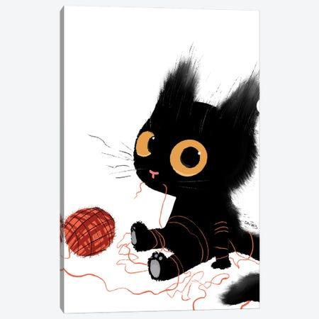 Black Cat With Yarn Canvas Print #DTV12} by Dan Tavis Canvas Artwork