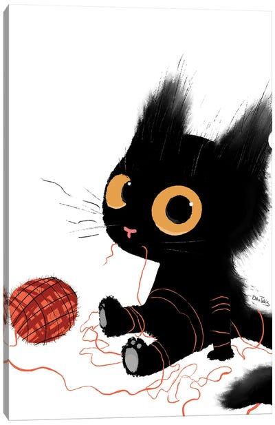 Black Cat With Yarn Canvas Art Print