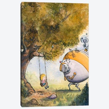 Boy And Robot Canvas Print #DTV14} by Dan Tavis Art Print