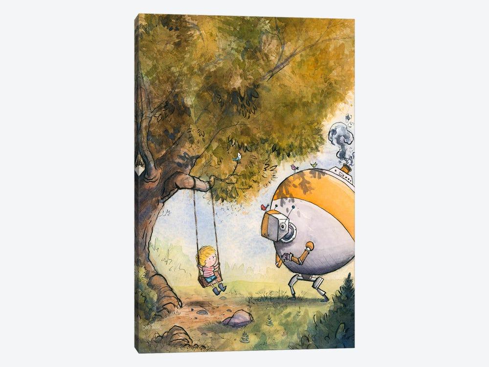 Boy And Robot by Dan Tavis 1-piece Canvas Art Print