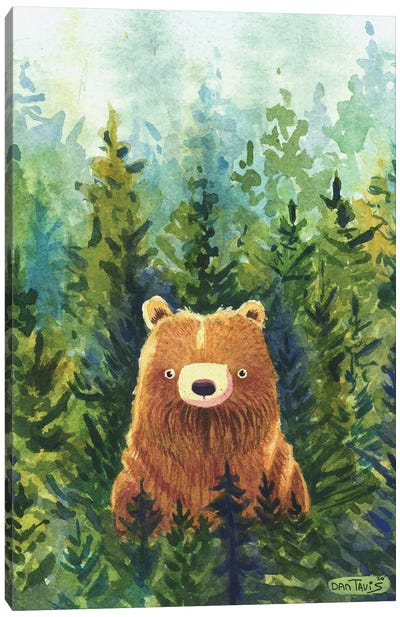Brown Bear Forest Canvas Art Print