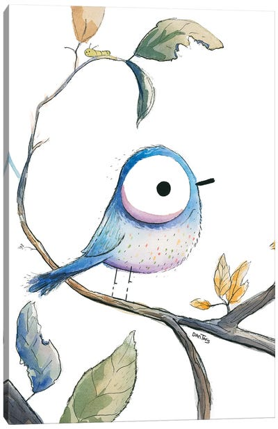 Blue Bird Stare Canvas Art Print