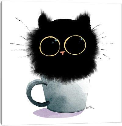 Cat In Coffee Canvas Art Print