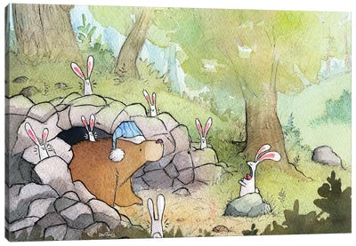 Bunnies, Natures Alarm Clock Canvas Art Print