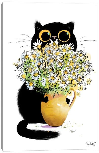 Cat Loves Flowers Canvas Art Print