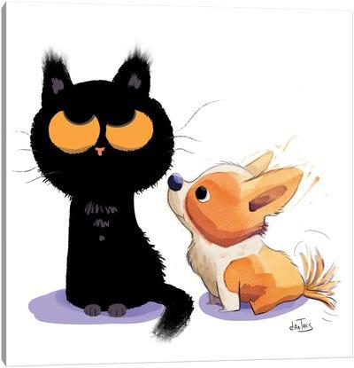 Corgi And Cat Canvas Art Print