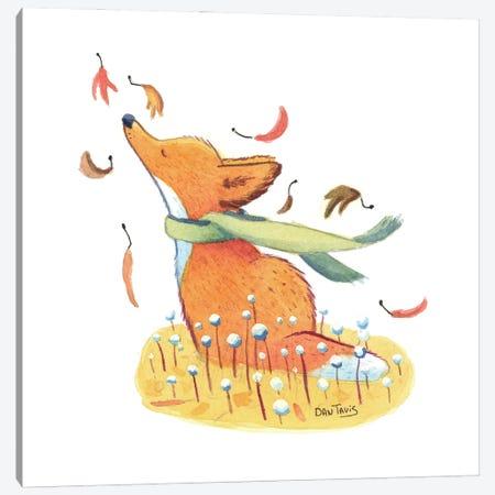 Fox And Falling Leaves Canvas Print #DTV26} by Dan Tavis Canvas Artwork