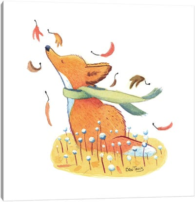 Fox And Falling Leaves Canvas Art Print