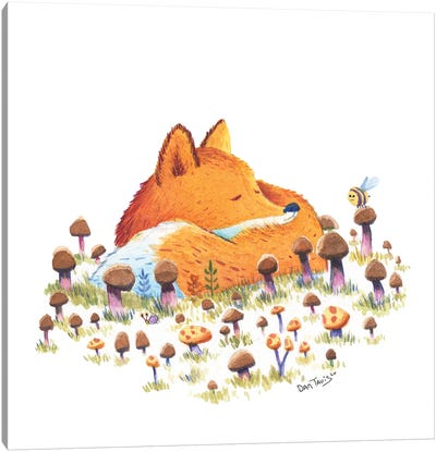 Fox And Mushrooms Canvas Art Print