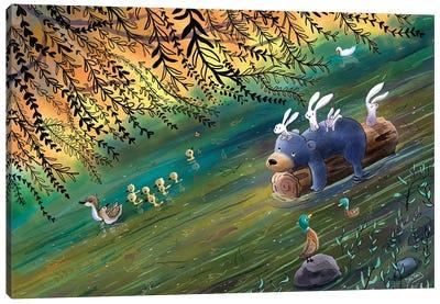 Bear And Bunnies River Ride Canvas Art Print
