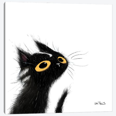 Mischievous Black Cat Canvas Print #DTV40} by Dan Tavis Art Print