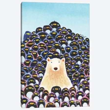 Polar Bear And Penguins Canvas Print #DTV45} by Dan Tavis Canvas Wall Art