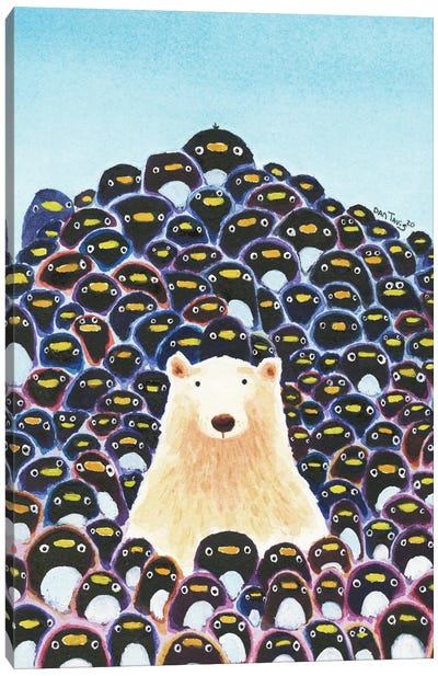 Polar Bear And Penguins Canvas Art Print