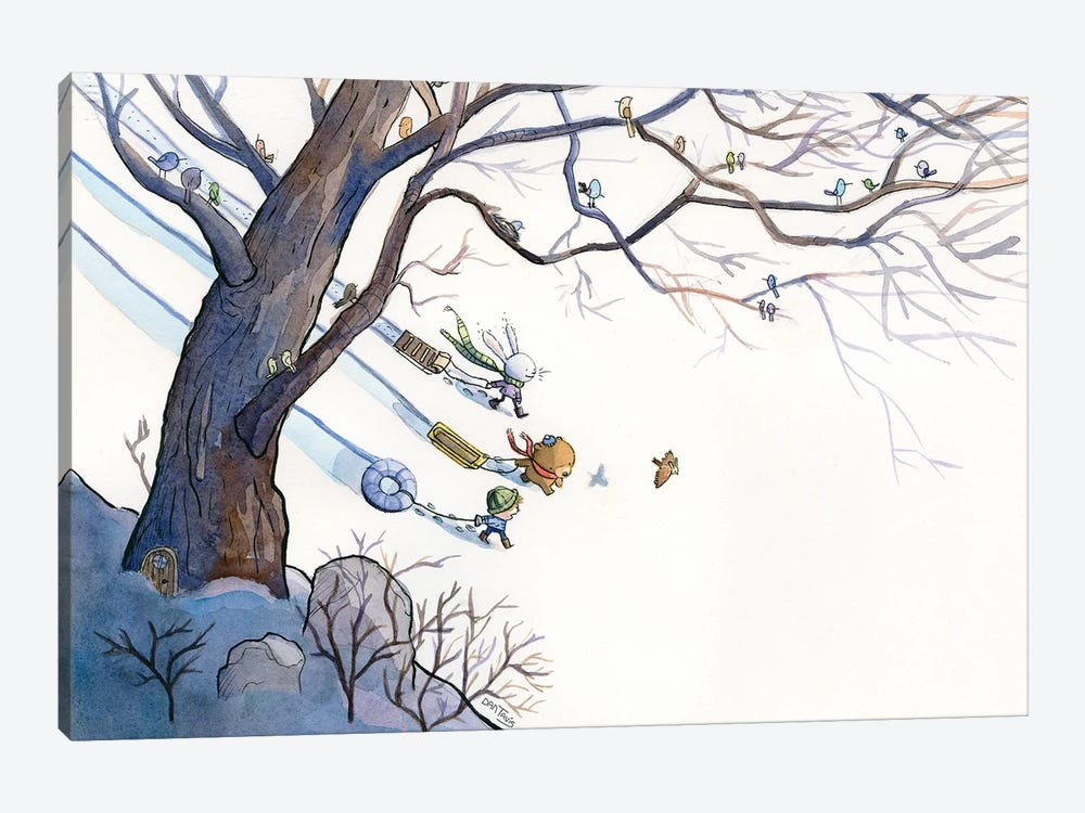 Sledding Day by Dan Tavis 1-piece Canvas Art