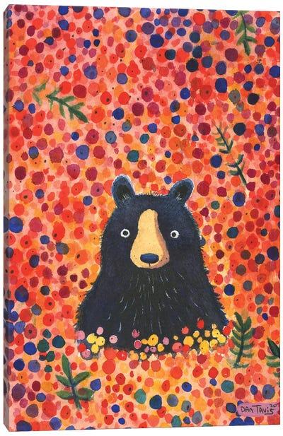Black Bear Berries Canvas Art Print