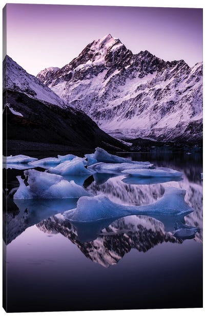 Hooker Glacier Lake, New Zealand Canvas Art Print