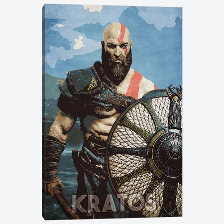 Kratos With Shield Canvas Print #DUR337} by Durro Art Canvas Wall Art