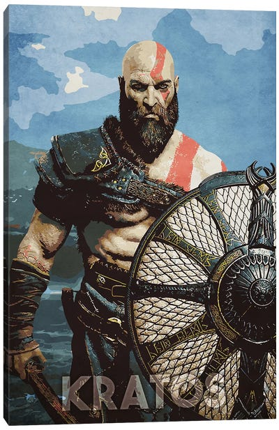 Kratos With Shield Canvas Art Print