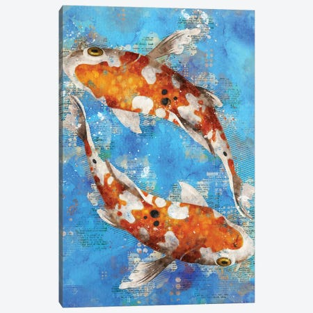 Koi Fishes Blue Canvas Print #DUR346} by Durro Art Canvas Art Print
