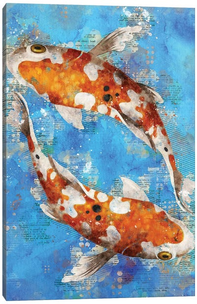 Koi Fishes Blue Canvas Art Print