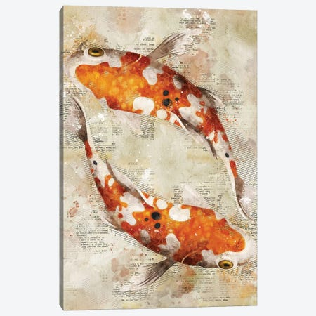 Koi Fishes Canvas Print #DUR347} by Durro Art Art Print