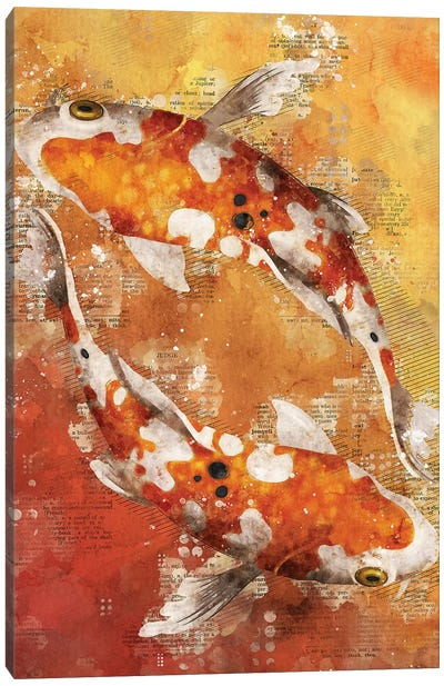 Koi Fishes Red by Durro Art Canvas Art Print