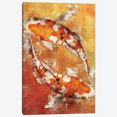 Koi Fishes Red Canvas Print #DUR357} by Durro Art Canvas Artwork