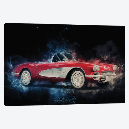 Corvette 3-Piece Canvas #DUR368} by Durro Art Canvas Artwork