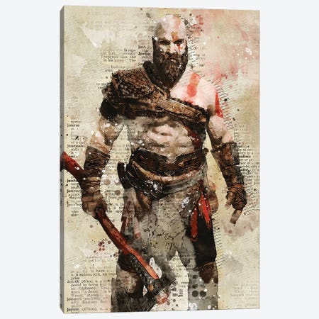 Kratos Watercolor Canvas Print #DUR418} by Durro Art Canvas Wall Art
