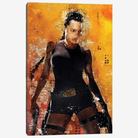 Lara Croft Watercolor Canvas Print #DUR424} by Durro Art Canvas Wall Art