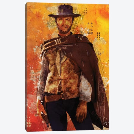 Clint Eastwood Watercolor Canvas Print #DUR430} by Durro Art Canvas Art