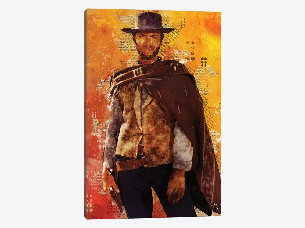 Clint Eastwood Watercolor by Durro Art 1-piece Canvas Art