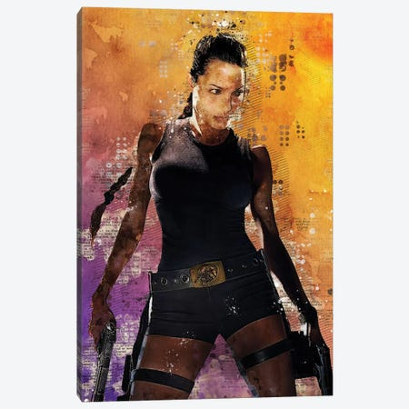 Lara Croft Watercolor Red Canvas Print #DUR436} by Durro Art Canvas Print