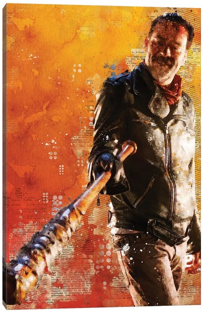 Negan Lucille Watercolor Canvas Art Print