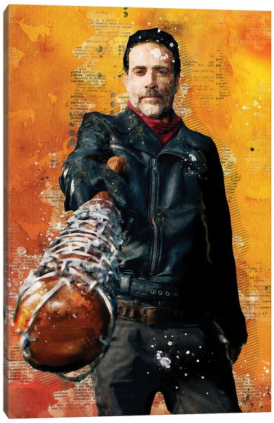 Negan Watercolor Red Canvas Art Print