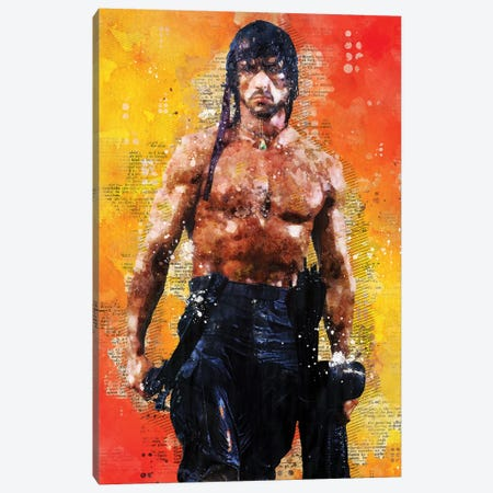 Rambo Watercolor Canvas Print #DUR442} by Durro Art Art Print