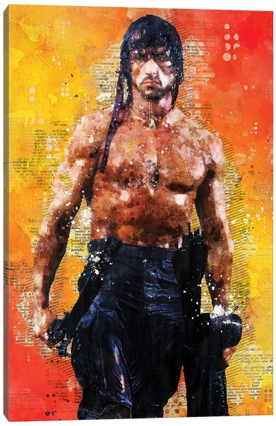 Rambo Watercolor Canvas Art Print