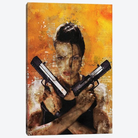 Tomb Raider Watercolor Red Canvas Print #DUR446} by Durro Art Canvas Artwork