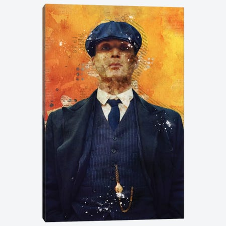 Tommy Shelby Watercolor Canvas Print #DUR448} by Durro Art Art Print
