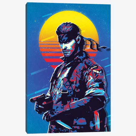 Solid Snake Retro Canvas Print #DUR484} by Durro Art Canvas Wall Art