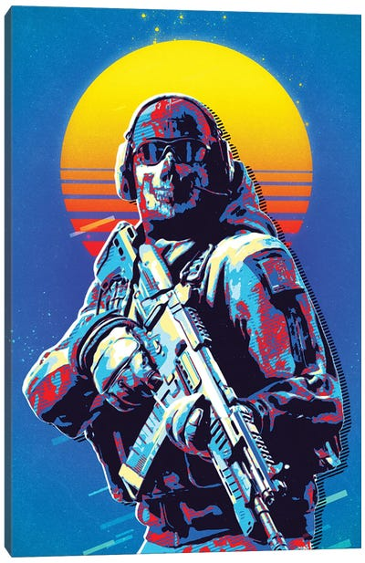 Cod Soldier Retro Canvas Art Print