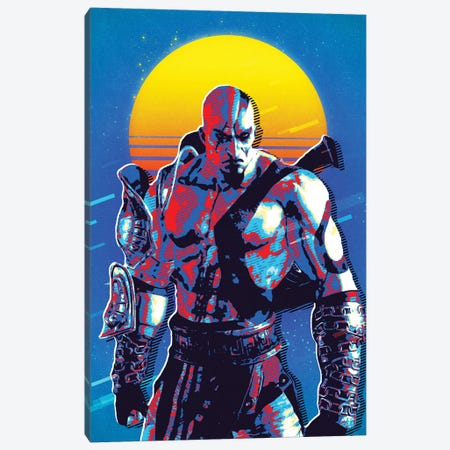 God Of War Kratos Retro Canvas Print #DUR532} by Durro Art Canvas Art Print